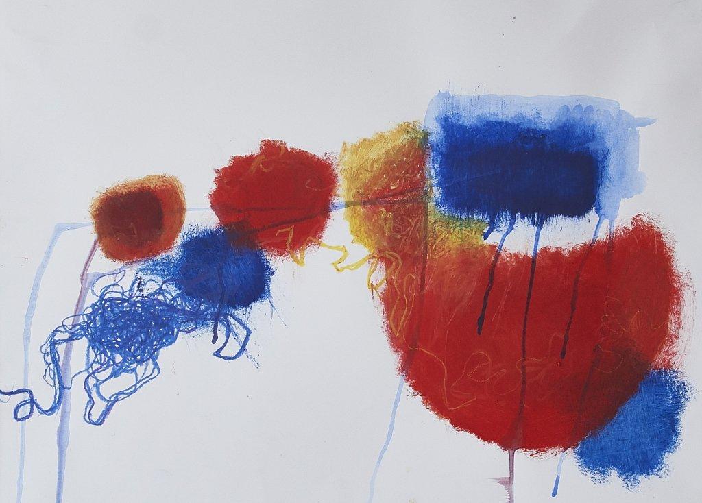 Mohn rot gelb blau - Öl auf Papier, 50x60, 2017